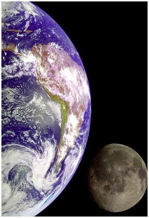 Earth And Moon (From Space) Photo Poster Print