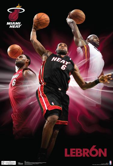 Nba Basketball Miami Heat Bedroom In: Lebron James Triple Dunk Miami Heat Nba Sports Poster
