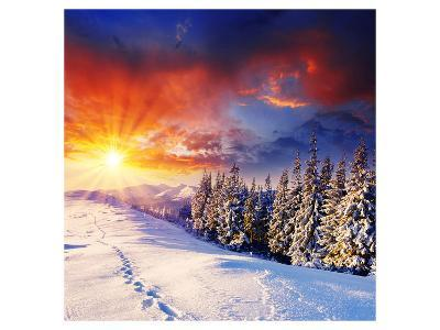 Sunset with Winter Mountains