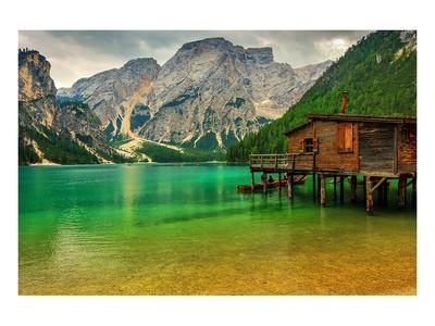 Hut Braies Lake Dolomiti Italy