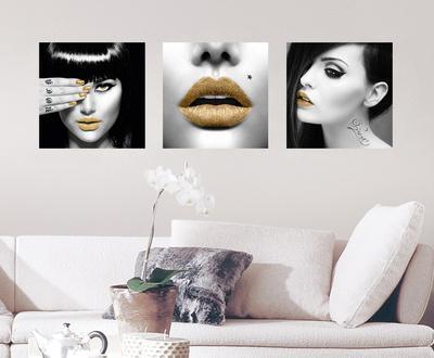 Golden Lips Wall Decal