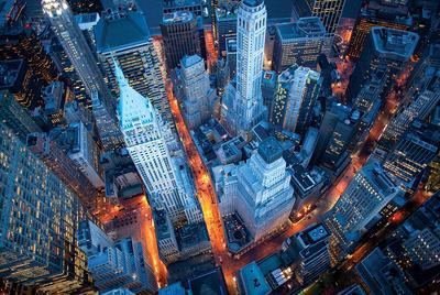 Aerial View Of Wall Street