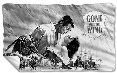 Gone With The Wind - Bw Poster Fleece Blanket