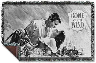 Gone With The Wind - Bw Poster Woven Throw