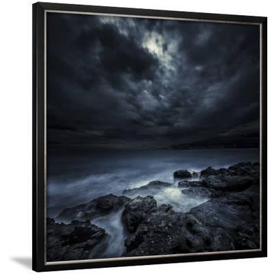 Black Rocks Protruding Through Rough Seas with Stormy Clouds, Crete, Greece