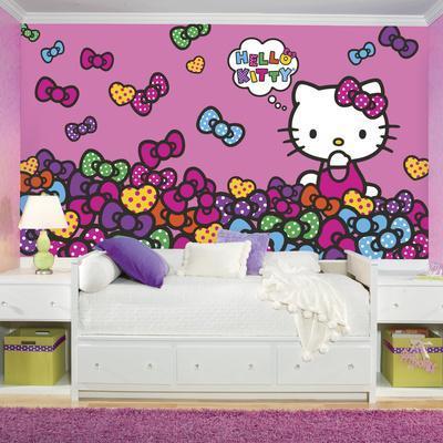 Hello Kitty Bow-tastic XL Chair Rail Prepasted Mural