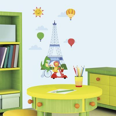 Animals in Paris Peel and Stick Giant Wall Decals