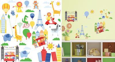 Animals in the City Peel and Stick Wall Decals