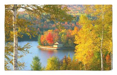Summer Home Surrounded by Fall Colors, Wyman Lake, Maine, USA