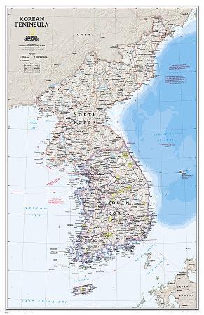 National Geographic Korean Peninsula Map