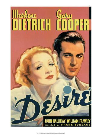 Vintage Movie Poster - Cooper & Dietrich in Desire