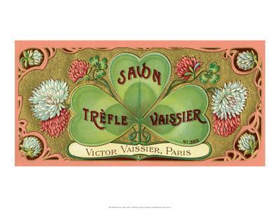 Vintage Art Deco Label, Savon Trefle Vaissier