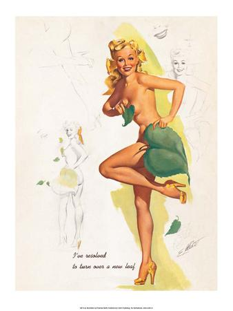 Retro Pin Up, Nude with Green Leaf