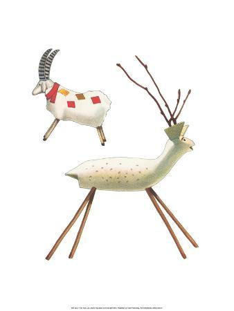 Wooden Deer and Goat - Folk Toys