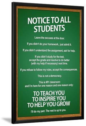 Notice to all Students Classroom Rules Poster