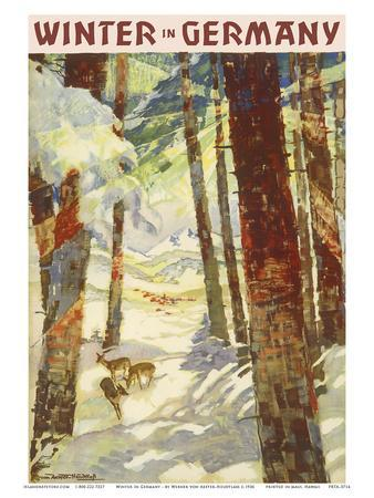 Winter In Germany - Deer in Snow Covered Forest