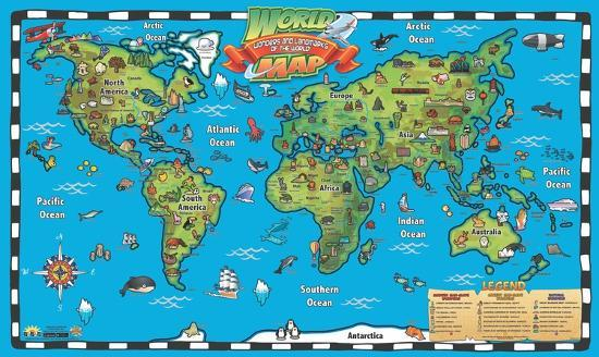 Interactive World Map For Kids Kid's World Map Interactive Wall Chart' Posters | AllPosters.com
