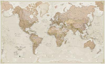 World Antique Megamap 1:20, Laminated Wall Map