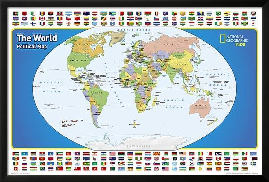 Political Map For Kids.National Geographic Kids World Political Map Posters At Allposters Com