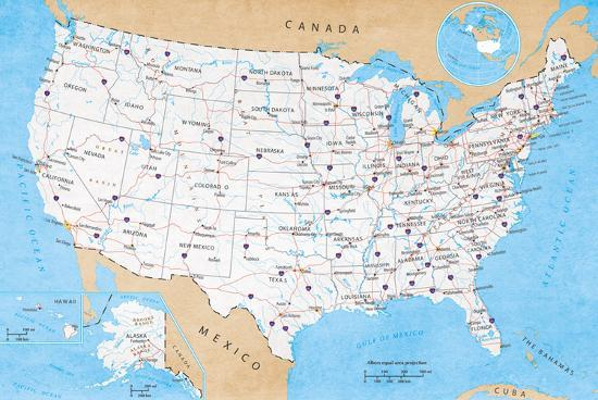 Map Of USA- Road Map Prints at AllPosters.com