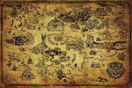 Map Of Hyrule Zelda  Hyrule Map Prints at AllPosters.com