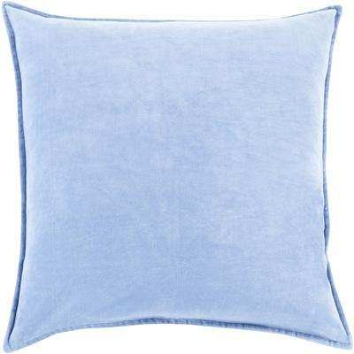 Cotton Velvet Poly Fill Pillow - Sky Blue