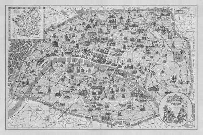 Vintage Paris Map - B&W