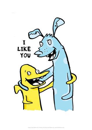 I Like You - Tommy Human Cartoon Print