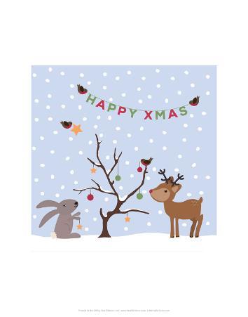 Xmas Tree Friends- Happy Xmas - Wink Designs Contemporary Print