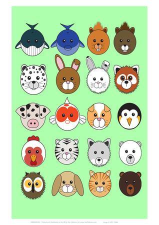 Mixed Lime Green - Animaru Cartoon Animal Print