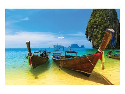 Thai Boats Beach Sea Scenery