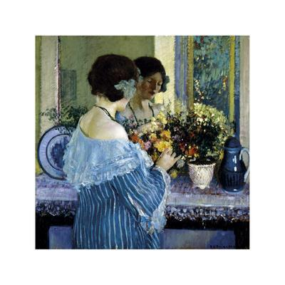 Girl in Blue Arranging Flowers, c1915