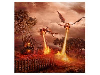 Fire Dragon Attack on Village