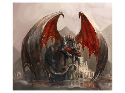 Gigantic Fire Dragon & Castle