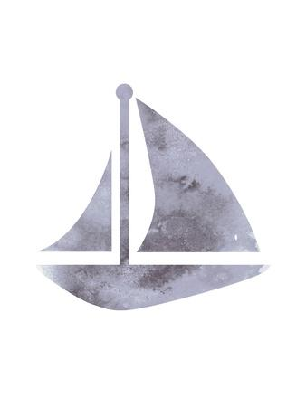 Watercolor Gray Sailboat