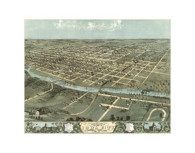 Bird's Eye View of Iowa City, Iowa, 1868