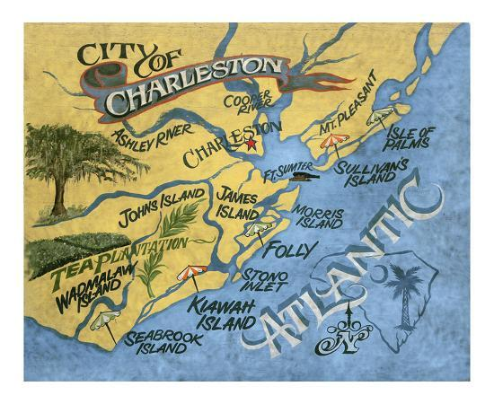 Charleston South Carolina Beach Map Posters By Zeke S Antique Signs