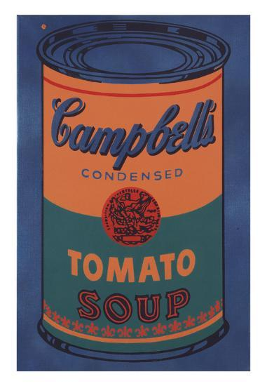 colored campbell s soup can 1965 blue orange posters by andy