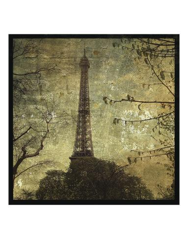 Eiffel Tower by John W 20x20 PARIS FRANCE ART PRINT Golden French Poster