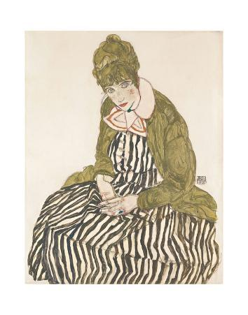 Edith with Striped Dress, Sitting, 1915
