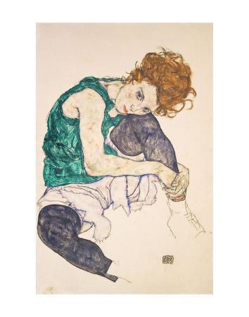 Seated Woman with Legs Drawn Up (Adele Herms), 1917