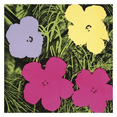 Flowers, 1970 (1 purple, 1 yellow, 2 pink)