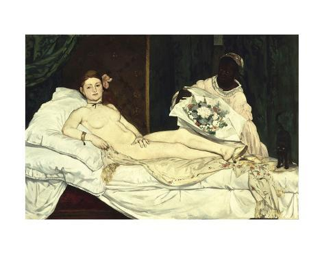 Olympia 1863 Edouard Manet Impressionist Vintage Nude Woman Print Poster 26x18