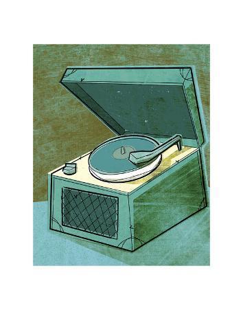 Old School Record Player in Aqua