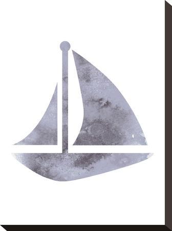 Watercolor Gray Sailboat