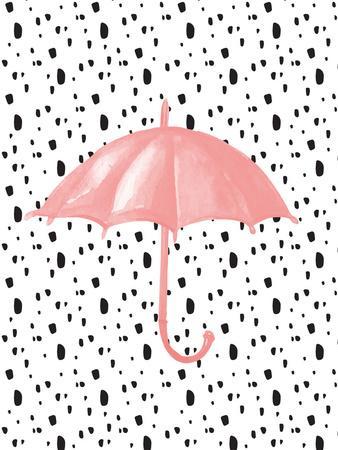 Pink Umbrella on Polka Dots