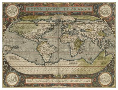 Antique World Map 36x48
