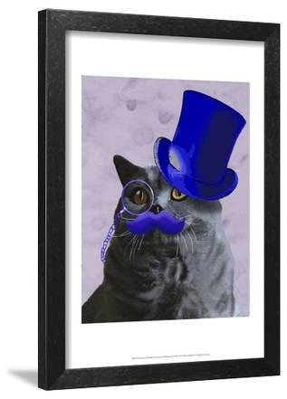 Grey Cat With Blue Top Hat and Moustache