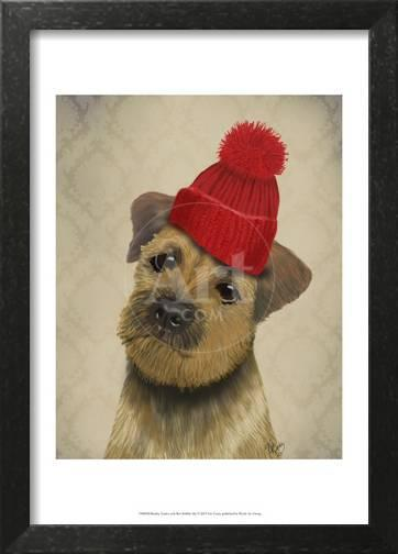 b9507331081 Border Terrier with Red Bobble Hat Prints by Fab Funky at AllPosters.com