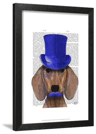 Dachshund With Blue Top Hat and Blue Moustache